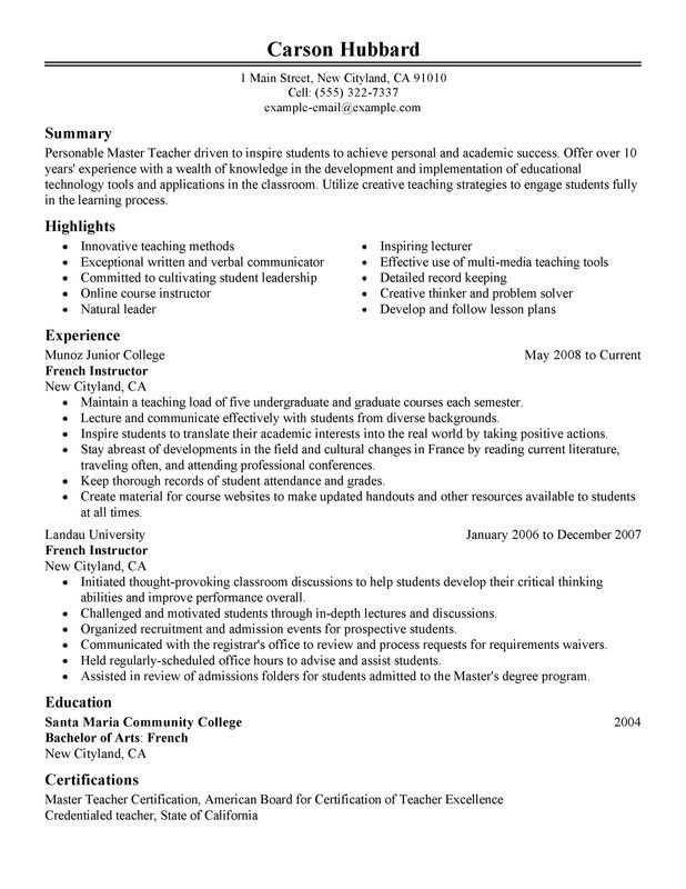 Master Teacher Resume Sample | Professional Dev. | Teaching ...