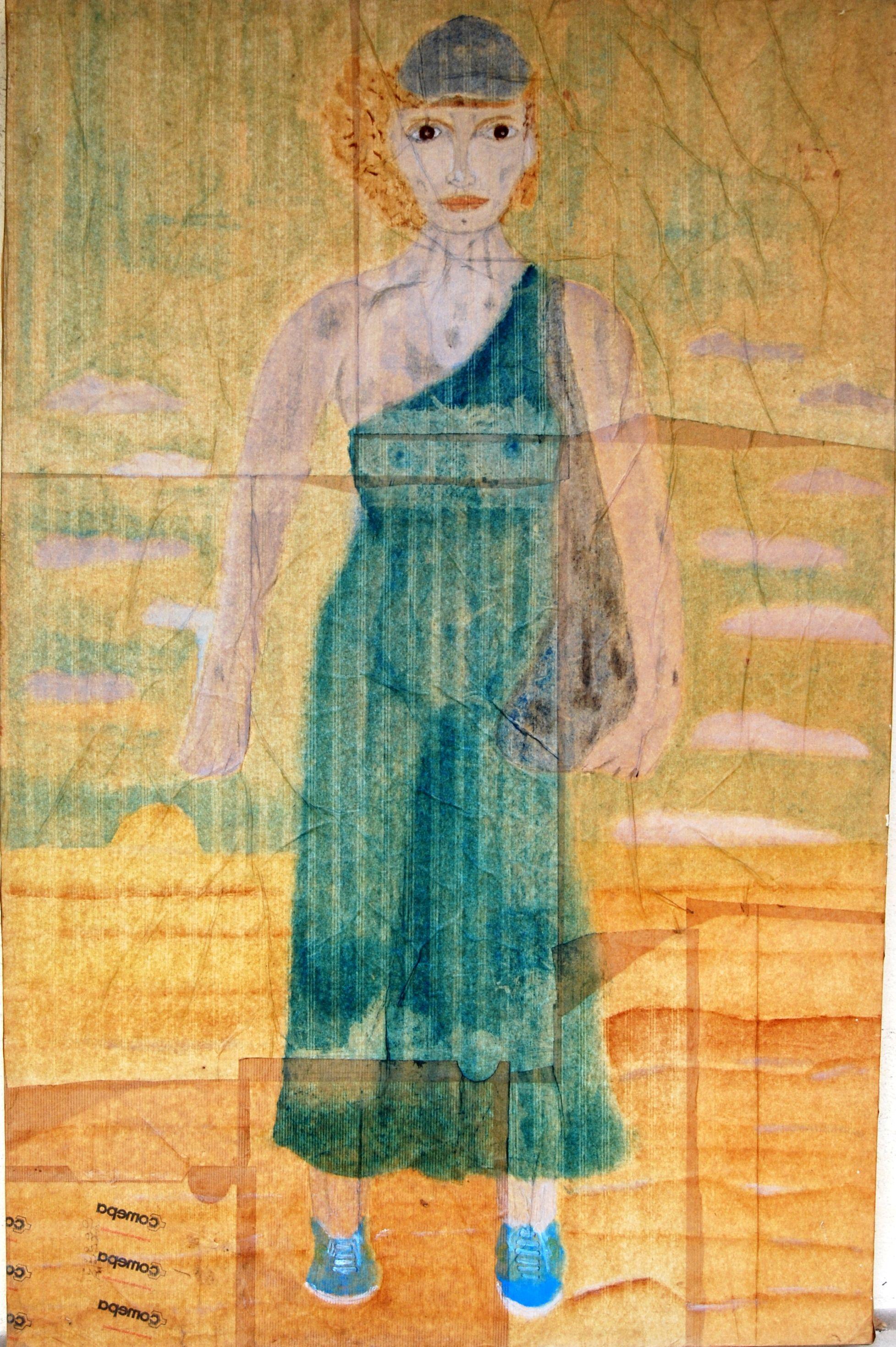 """Semeuse. Huile 120x80 cm Coll. de l'artiste 2002. Exposé à la chambre d'agriculture en 2013: """"Sillons et tranchées""""."""