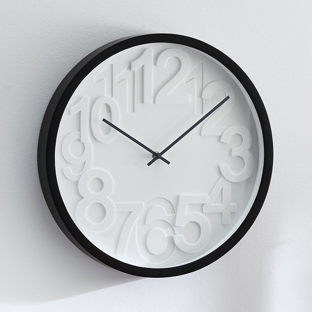 Shop Reece Black And White Wall Clock This Contemporary Wall Clock Has Graphic Raised Numbers That Mark Time With Stylish Wall Clock Clock Black Wall Clock