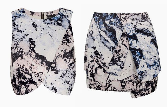 Stand out with this marbled crop top + wrap skirt set.