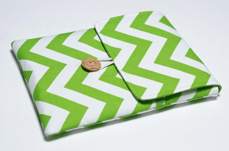 iPad 3 Cover, iPad Cover, iPad Case, iPad 3 Case, iPad 2 Cover, iPad 2 Case, iPad 3, iPad - Lime Green Zig Zag / Chevron. $36,00, via Etsy.