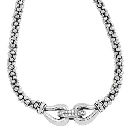 Lagos Derby Sterling Silver Diamond Caviar Buckle Necklace