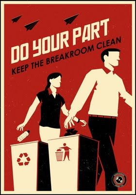 Propaganda posters for the office by Steve Thomas available in blue and red at Zazzle.