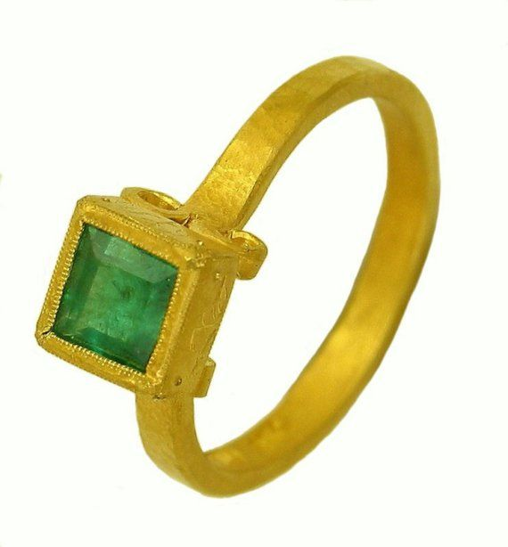 22k Gold Square Emerald Renaissance Ring Made To Order Using Etsy Renaissance Rings Recycled Gold Renaissance Jewelry