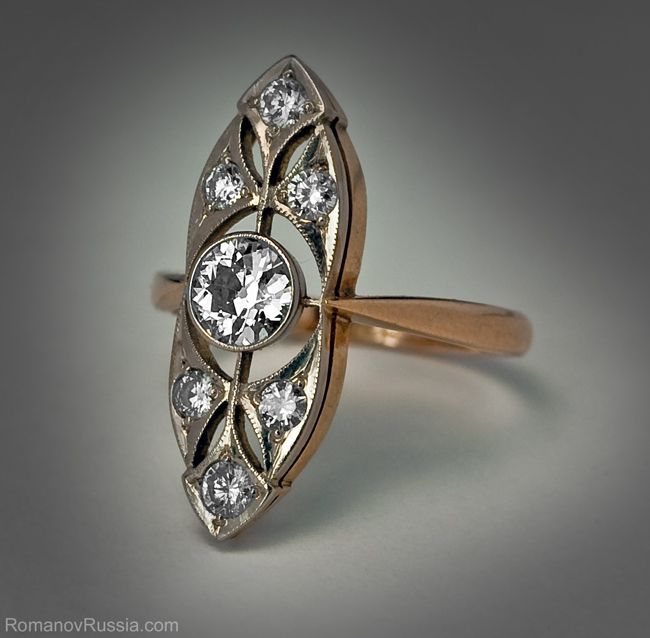 A Vintage Russian Art Deco Diamond Ring c 1930 Jewlery