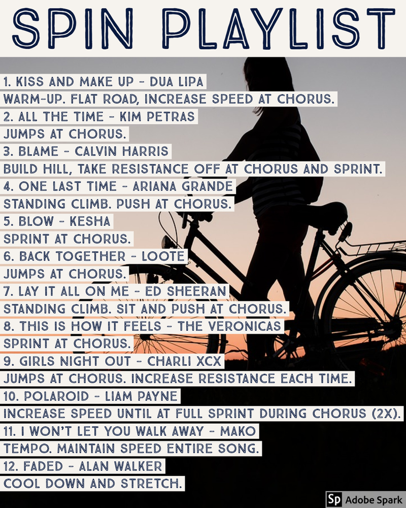 Playlist 1 In 2020 Spin Playlist Spin Class Routine Spinning Workout