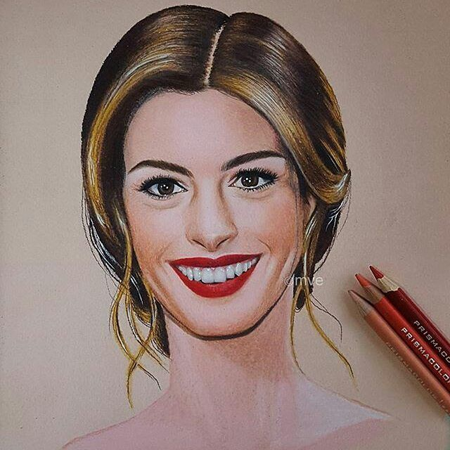 Anne Hathaway Drawing: Repost From @madethart Colored Pencil Drawing Of Anne