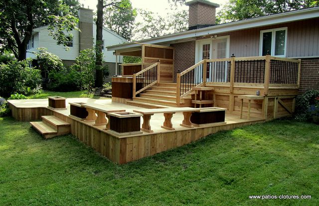 Patio deck design - www.patios-clotures.com (13) | Deck design ...