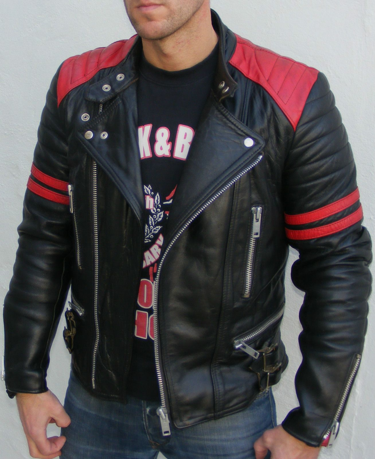 319a77a5d5766 MIDNIGHT Vtg leather biker cafe racer jacket 36 small mens black red  rockabilly bobber