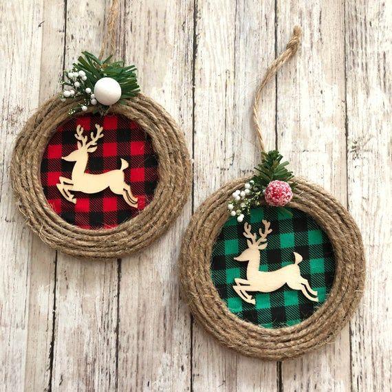 Renos renos navidad ornamentos / conjunto de 2 diferentes / Navidad rustic reno ornamentos / búfalo – Burlap reno ornamentos / hecho a mano