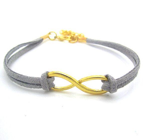grey infinity bracelet on etsy