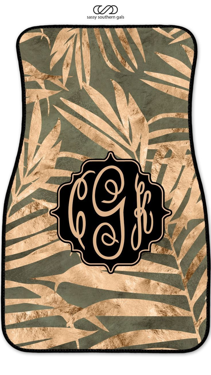Monogrammed / Personalized Car Mats Army Green Palm Leaf