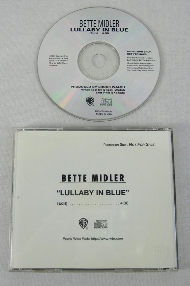 Bette Midler 1999 Lullaby In Blue Acetate Promo Single CD Pop Vocal Music RARE #PopVocalEasyListening1990sExoticaLoungeTraditionalVocal