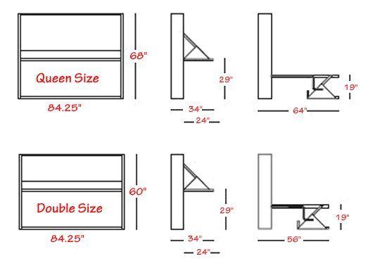 It Side folding italian wall bed desk from Murphysofa - Dimensions