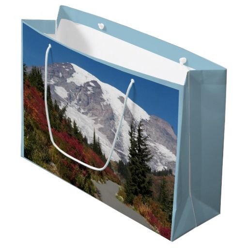 Mount Rainier Autumn Trail Large Gift Bag #travel #gifting #mtrainier #nationalparks #giftpresentation