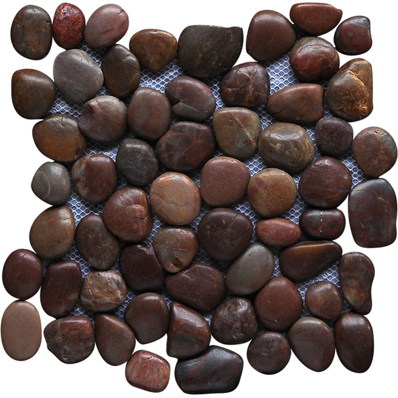 Aegean Red Polished Pebble Stone Pebble Mosaics 12x12 - Marble System Inc.
