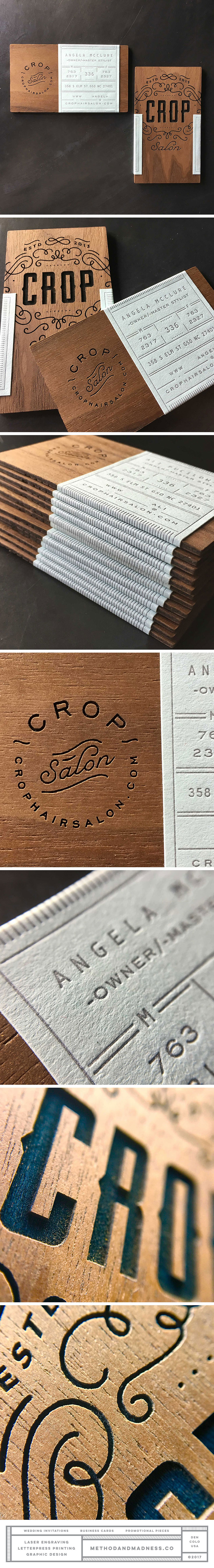 Laser engraved wood business cards with letterpress sticker label