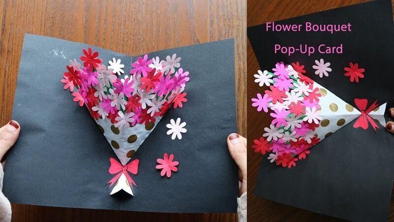 How to make flower bouquet pop up card pop up flower