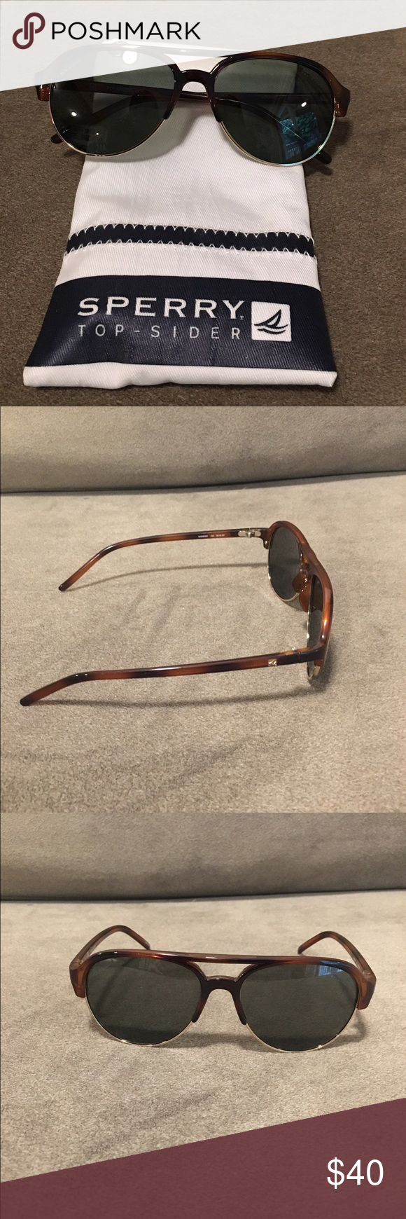 21b2db23c0 Sperry Sussex Aviator Sunglasses New! Never worn! Tortoise colored half  rims. Polarized lenses. Classic and stylish! Protective case included.