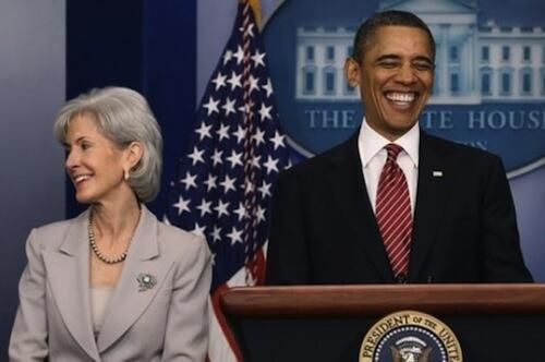 Secy Of Health and Human Services Katherine Sebilius  and Barack Obama