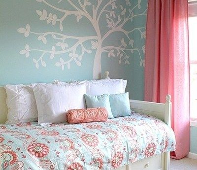 Duck Egg Blue Pink White Girly Bedroom Decor Girly Room