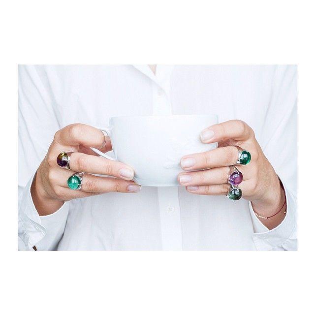 Утренние леденцы с кофе. Празиолит, аметист, аметрин, фианит, серебро. 8000 руб. #nbryantseva #jewelry #ring