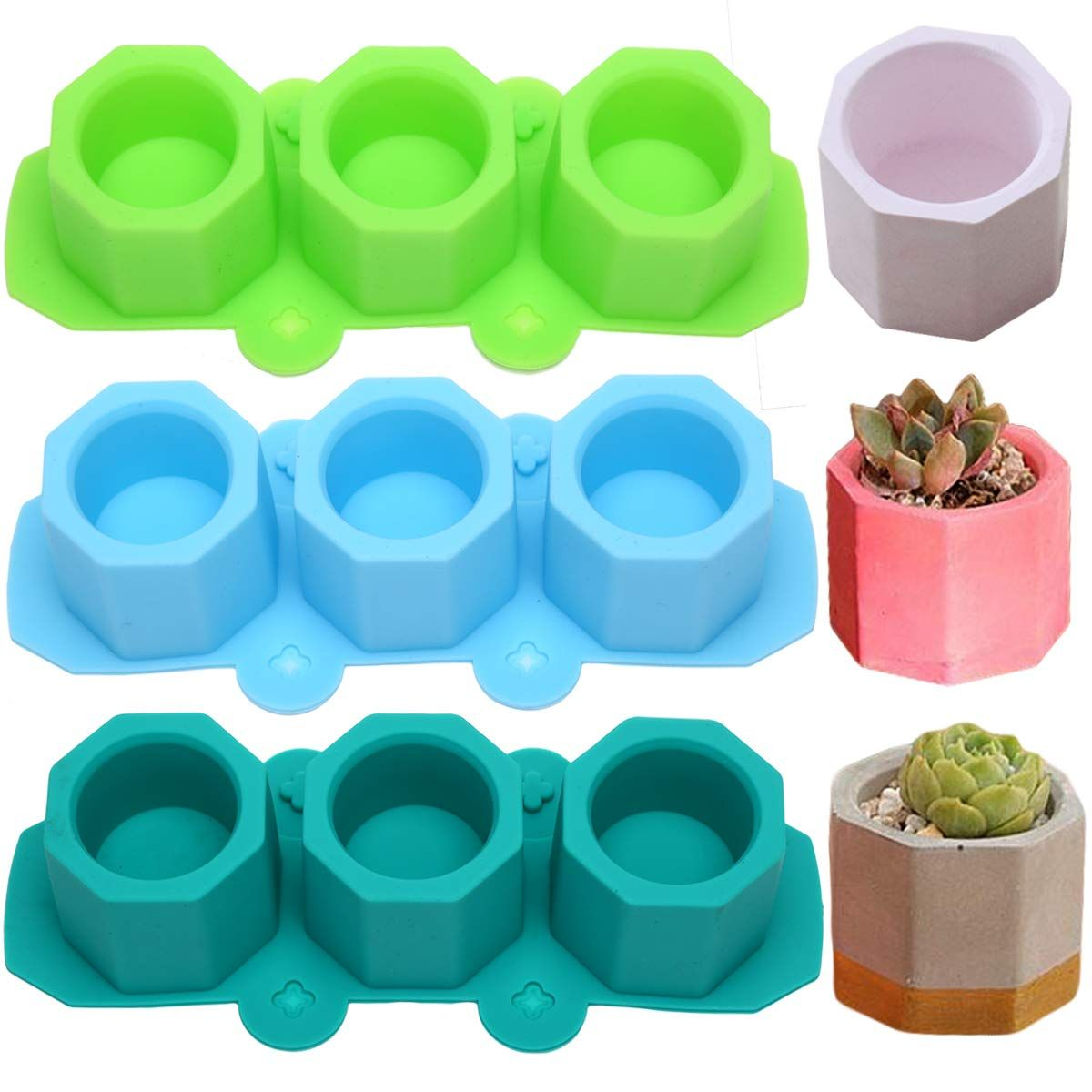 MeiMeiDa 3 Pack Mini Octagon Flower Pot Silicone Molds