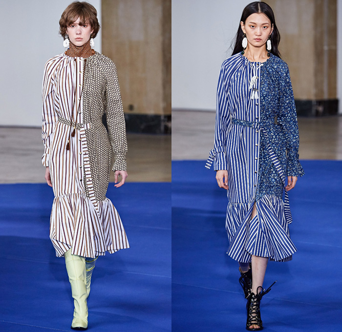 Victoria/Tomas 2019-2020 Fall Autumn Winter Womens Runway Catwalk Looks - Mode à Paris Fashion Week France - Western Multi-Panel Flowers Floral Print Stripes Ruffles Fringes Denim Jeans Cargo Utility Pockets Trench Coat Safari Jacket Gingham Check Jagged Sweatshirt Cape Drawstring Cinch Knit Turtleneck Sweater Blouse Half Split Dress Wide Leg Palazzo Pants Gladiator Snakeskin Boots