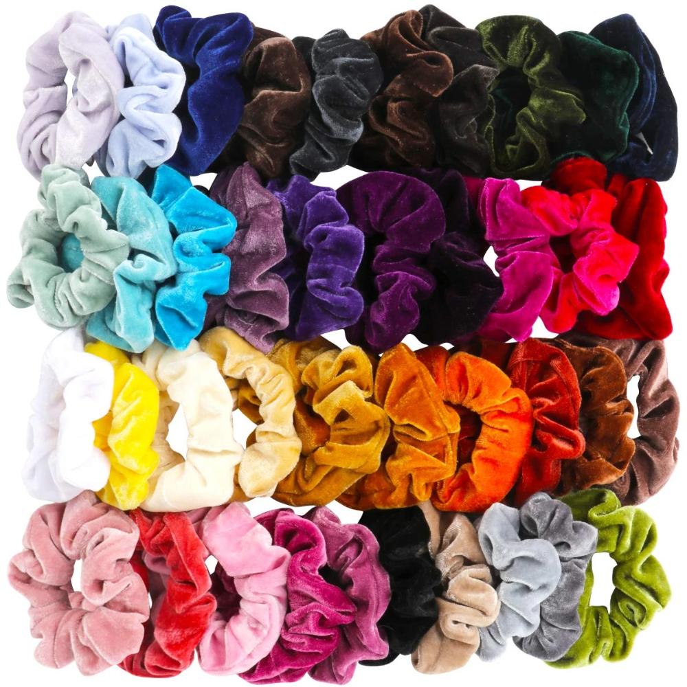 40 Pcs Hair Scrunchies Velvet Elastic Hair Bands S