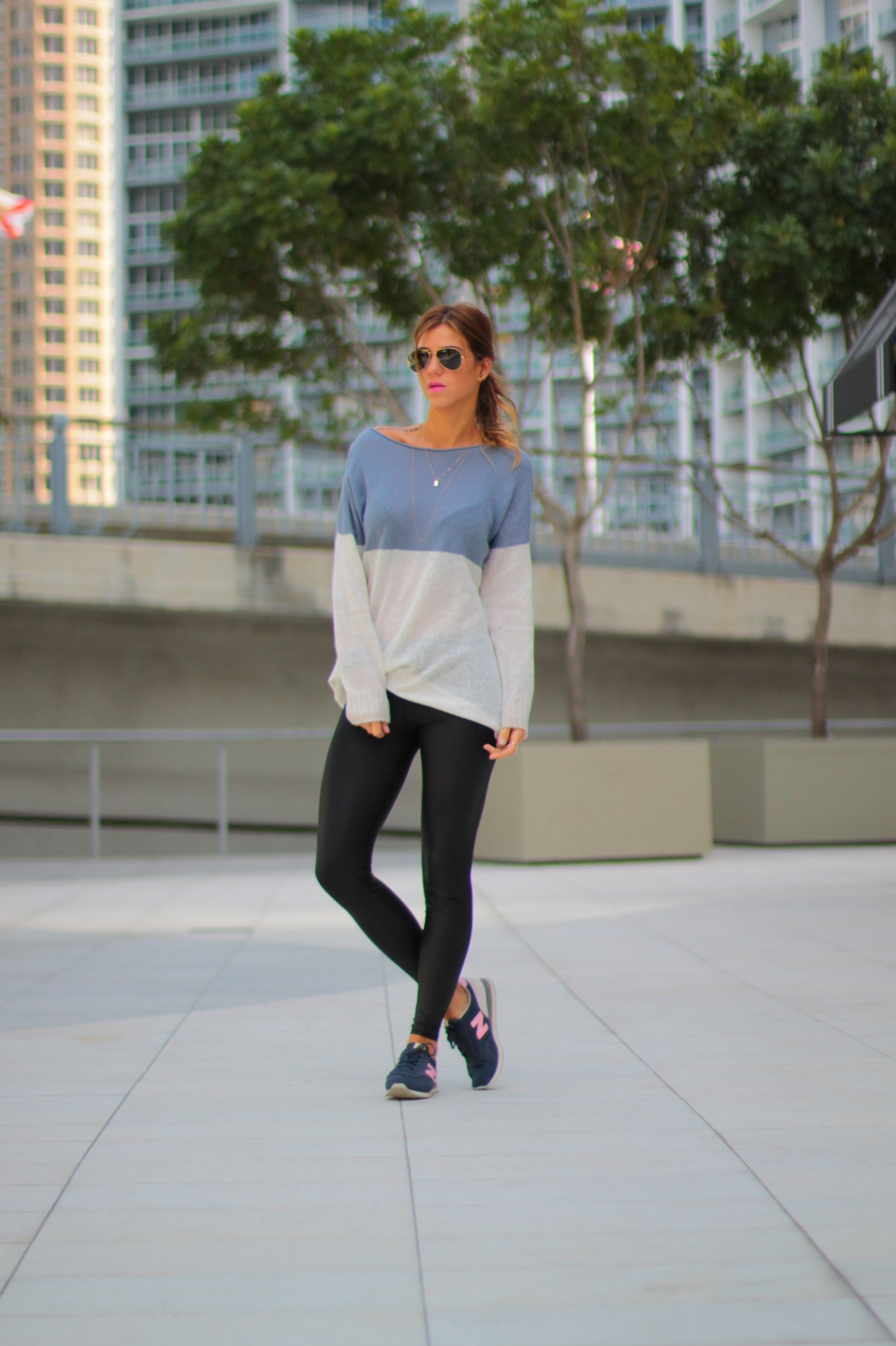 innovative design 963de 5664b sporty meet chic look, blue and pink new balance 620, pink lips, black ray  bans, black leggings, sweater, dainty necklaces, layer necklace, starbucks,  ...