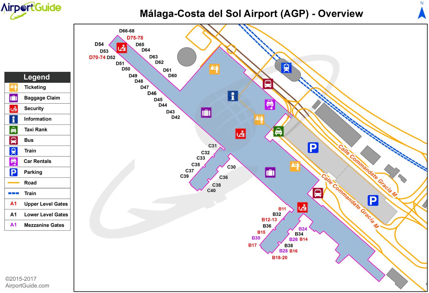 Costa Del Sol Airports Map Málaga   Málaga Costa del Sol (AGP) Airport Terminal Map