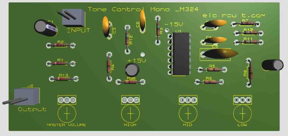 Complete Tone Control Circuit LM324 | Subwoofer amplifier ...