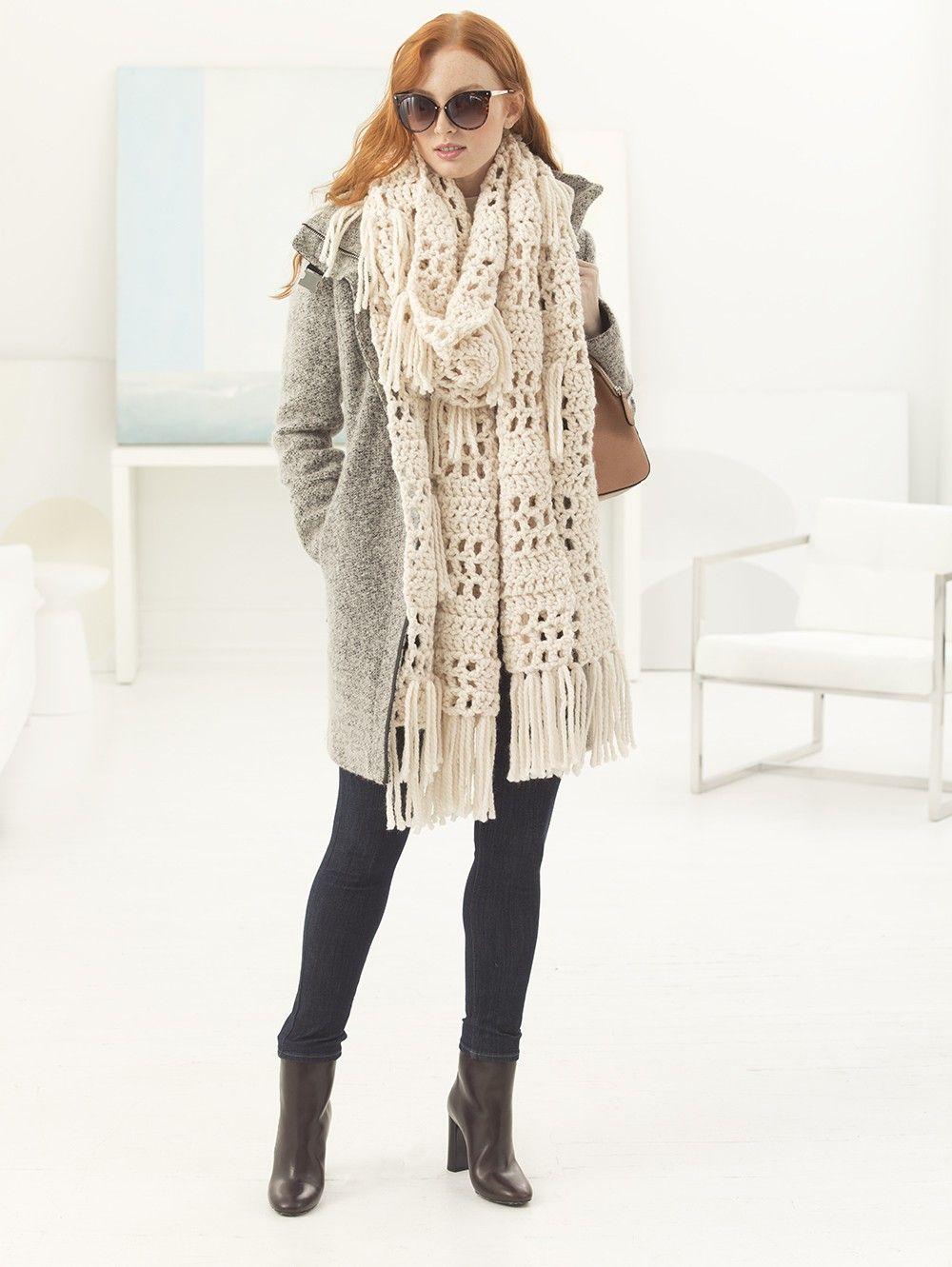 Lorelei Fringed Super Scarf (Crochet) - Lion Brand Yarn | Crochet ...