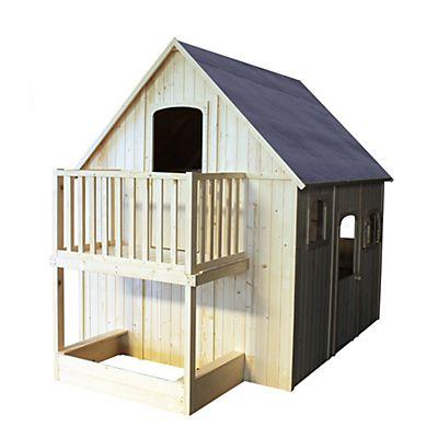 Maisonnette en bois avec mezzanine, balcon et bac à sable pour - Maisonnette En Bois Avec Bac A Sable