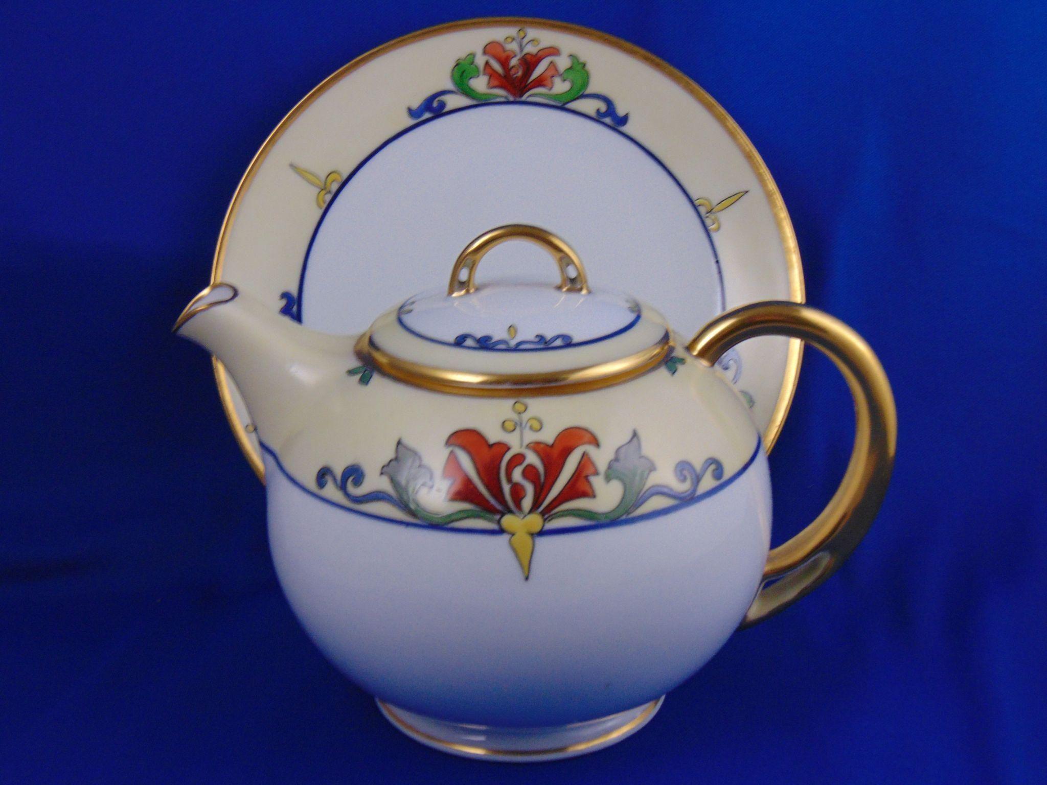 HC Royal Bavaria/Pirkenhammer Julius Brauer Studio Arts & Crafts Teapot/Syrup Pitcher & Plate (c.1914-1923)