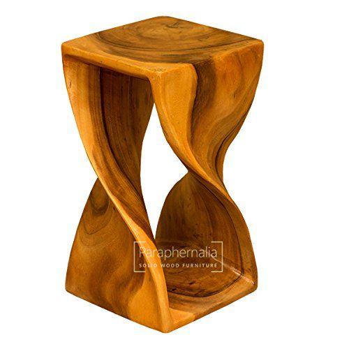 Monkey Pod Wood Twist Stool Table Large Honey Waxed Finish