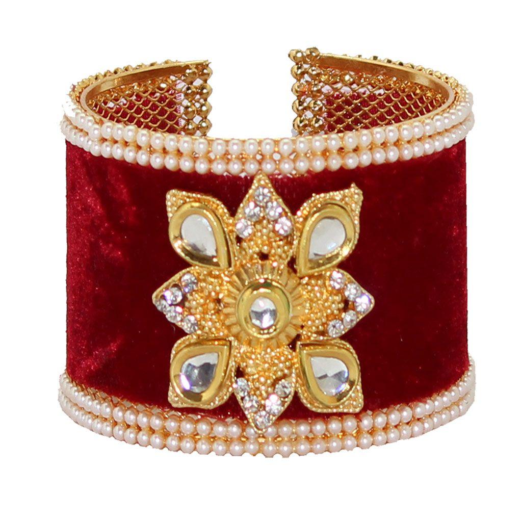 Maroon Alloy Austrian Diamonds Bangle 65965
