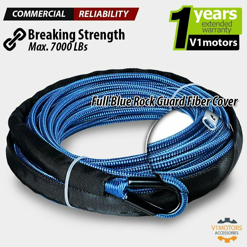 Ebay Sponsored 50 X 1 4 Synthetic Winch Rope Cable 7000 Lbs W All Rock Guard Atv Utv Blue Synthetic Winch Rope Winch Rope Rock Guard