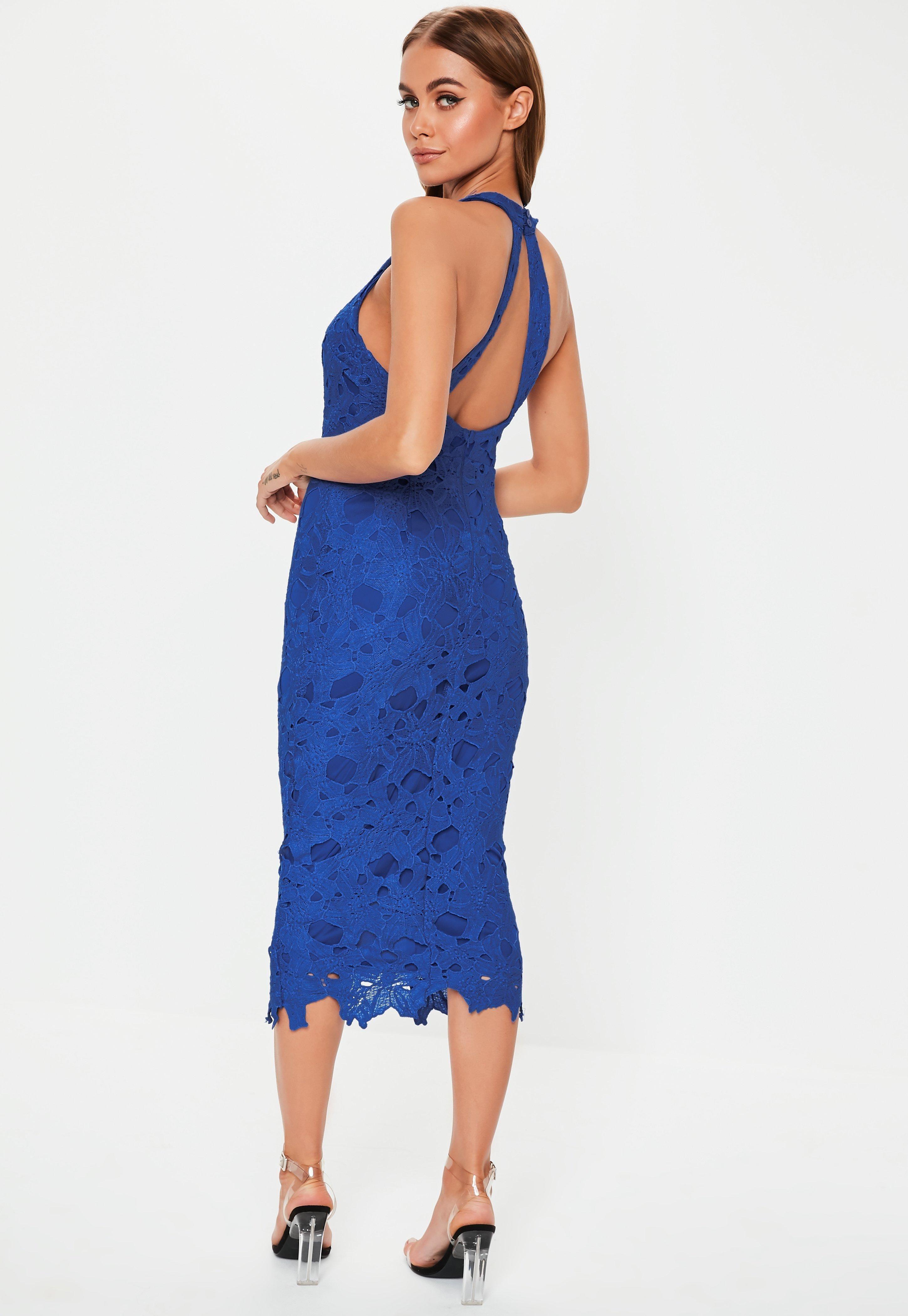 2bdc3275 Cobalt Blue Lace Halterneck Midi Dress #Sponsored #Lace, #SPONSORED, #Blue,  #Cobalt
