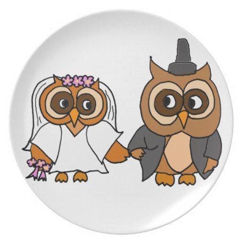Funny Owl Bride and Groom Wedding Dinner Plate  sc 1 st  Pinterest & Funny Owl Bride and Groom Wedding Dinner Plate   Wedding dinner ...