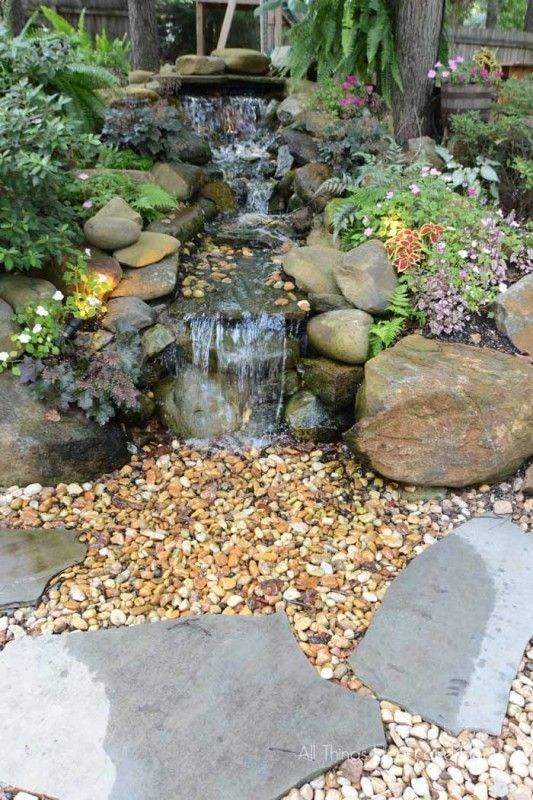 Pondless Waterfall All Things Heart And Home Water Features In The Garden Waterfalls Backyard Ponds Backyard