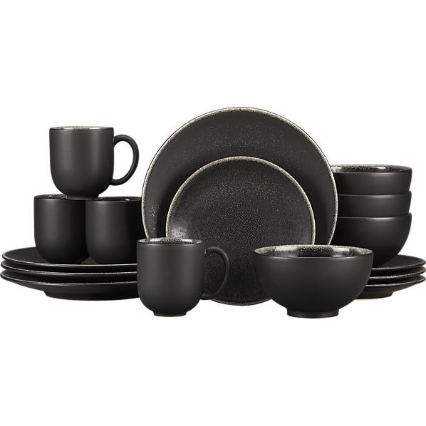 Take A Bite Out Of 24 Modern Dining Rooms: Jars Tourron Black 16-Piece Dinnerware Set