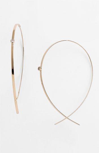 Flat Upside Down Diamond Hoop Earrings