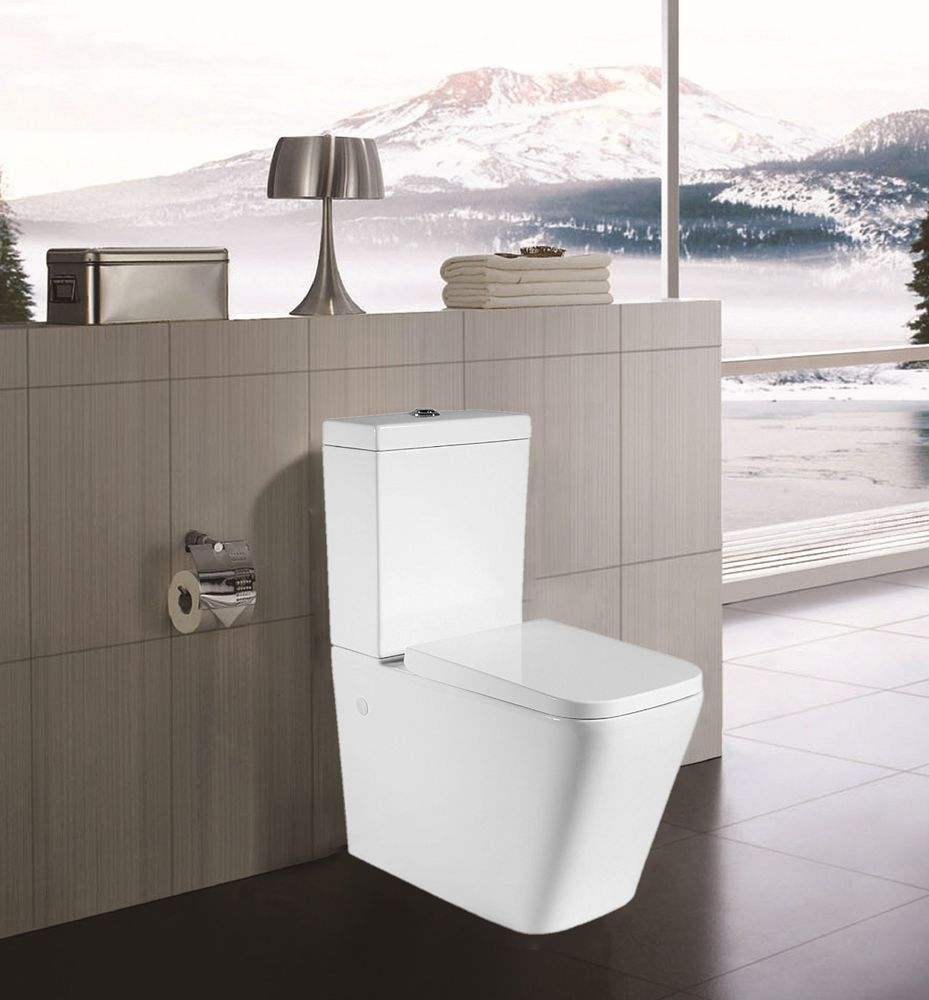 Sorrento Bathrooms Modern Design Back to Wall Ceramic Soft Close Toilet Wash down Wall Hung Squared