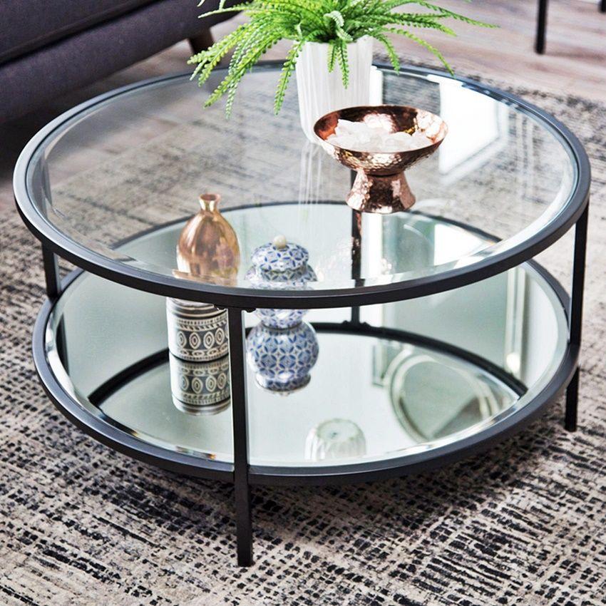 Meja Ruang Tamu Mewah 3 Elemen Besi Stainless Kaca Glass Table Living Room Table Decor Living Room Coffee Table