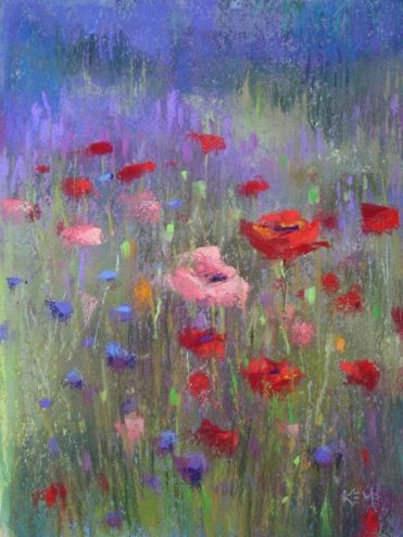 Lavender+and+Wildflowers+5x7+pastel,+painting+by+artist+Karen+Margulis