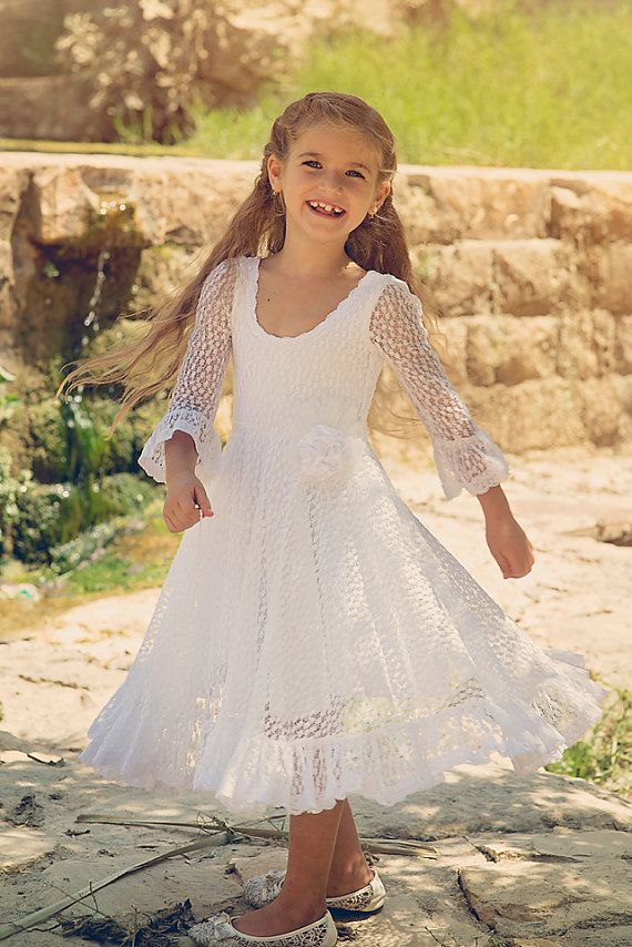 First Communion Dress, Flower Girl White Lace Dress, Girls toddlers ...