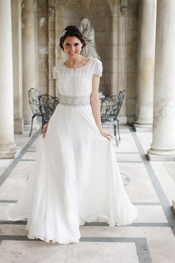 Stunning grecian inspired gown modest wedding dress for Grecian wedding dress with sleeves