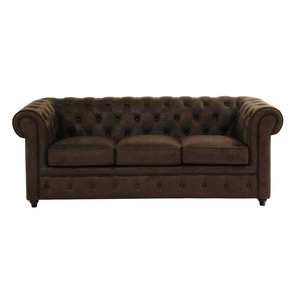 Canape Capitonne 3 Places En Suedine Marron Button Sofa Sofa