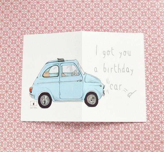 Birthday Card Car Illustration Fiat500 Cinquecento